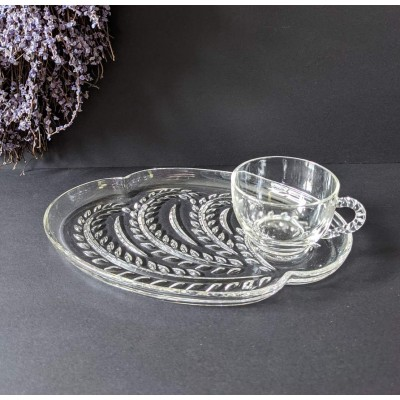 Lunch set Federal Glass Co. Homestead cristal Snack Set