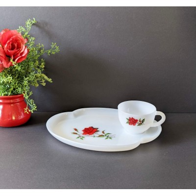 Lunch set Vintage Red Rose Crest Federal Glass