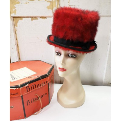 Chapeau peluche rouge Toscano Made in Italy