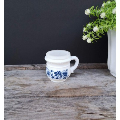Milk Glass Pot talc Avon Delft Blue Vintage