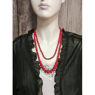 Collier double tour rouge