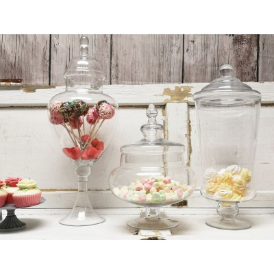 Pots de verre trio buffet candy, ensemble de 3