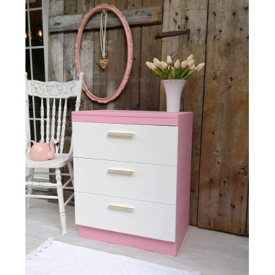 Commode bureau rose et blanc vintage