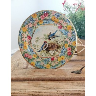 Assiette murale Hollande Blue Birds Nest nid d'hirondelle