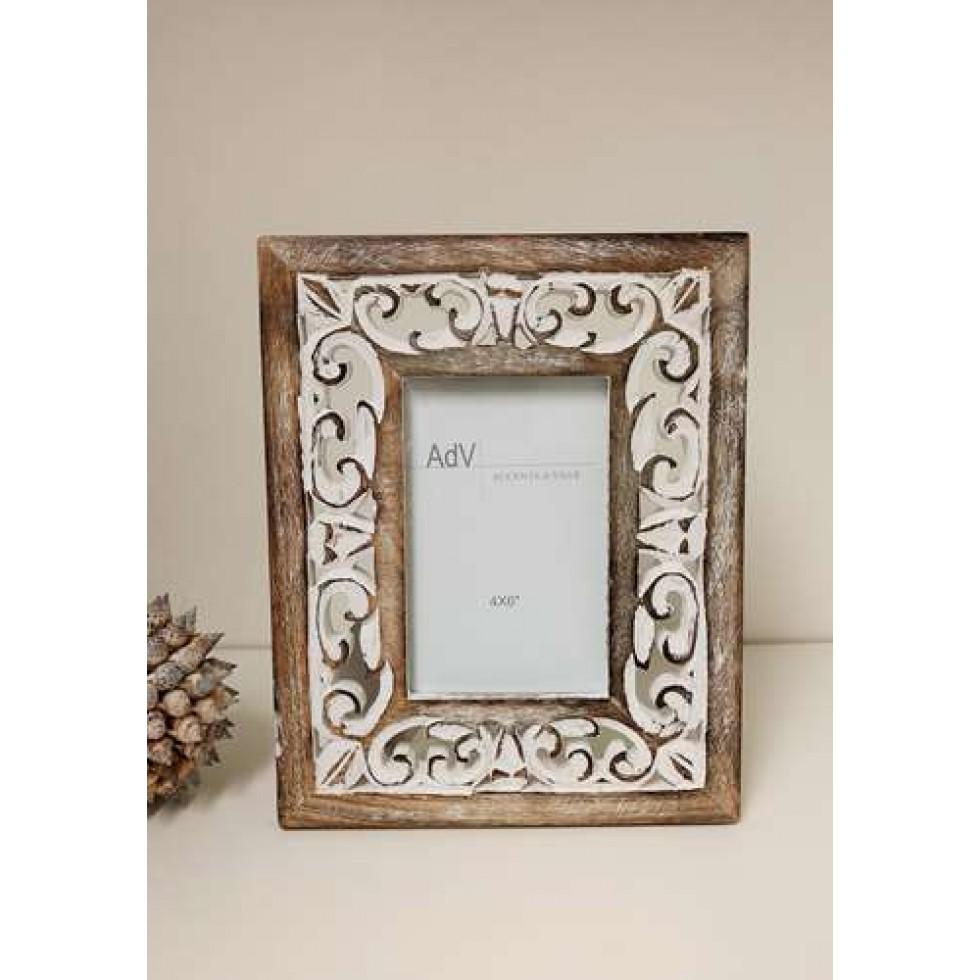 cadre photo en bois blanchi ajouré