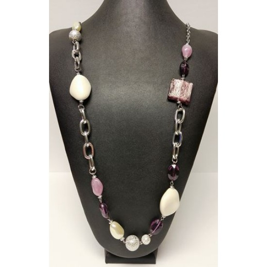 Collier lilas blanc