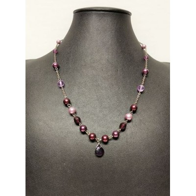 Collier perle lilas