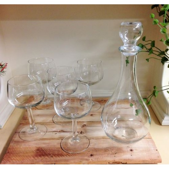 Ensemble coupes a vin et Carafe made in Italy