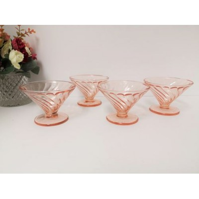 Coupes à sorbet Diana Swirl Pink vintage (4 mcx )