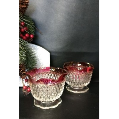 Indiana Glass Diamond deux bougeoirs,
