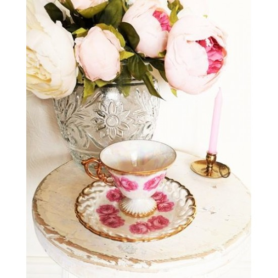 Tasse collection porcelaine rose dentelle