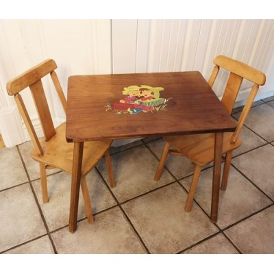 Table et 2 chaises enfant vintage Cowboy and Cowgirl,