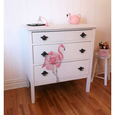 Commode bureau vintage flamant rose